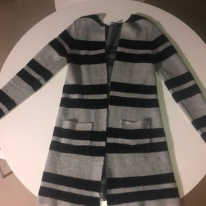 Long gray and black stripped cardigan